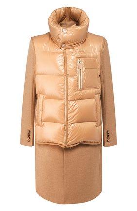 Мужской шерстяное пальто с жилетом BURBERRY бежевого цвета, арт. 4559214 | Фото 1