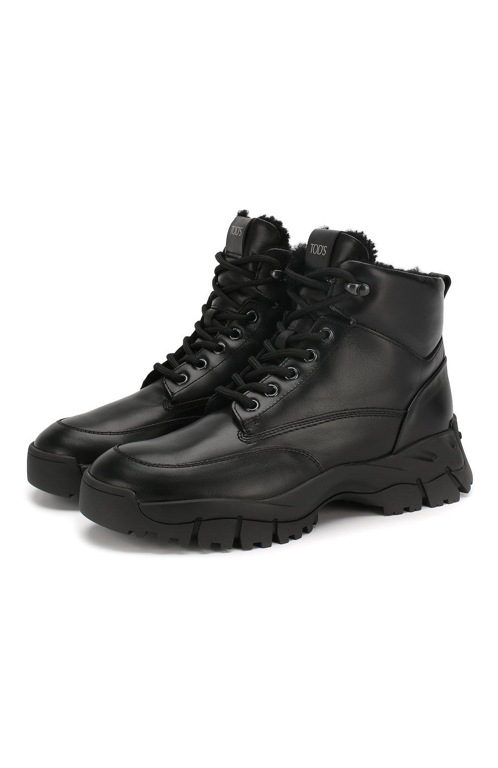 Женские кожаные ботинки sportivo TOD'S черного цвета, арт. XXW81B0CD01G0C   Фото 1