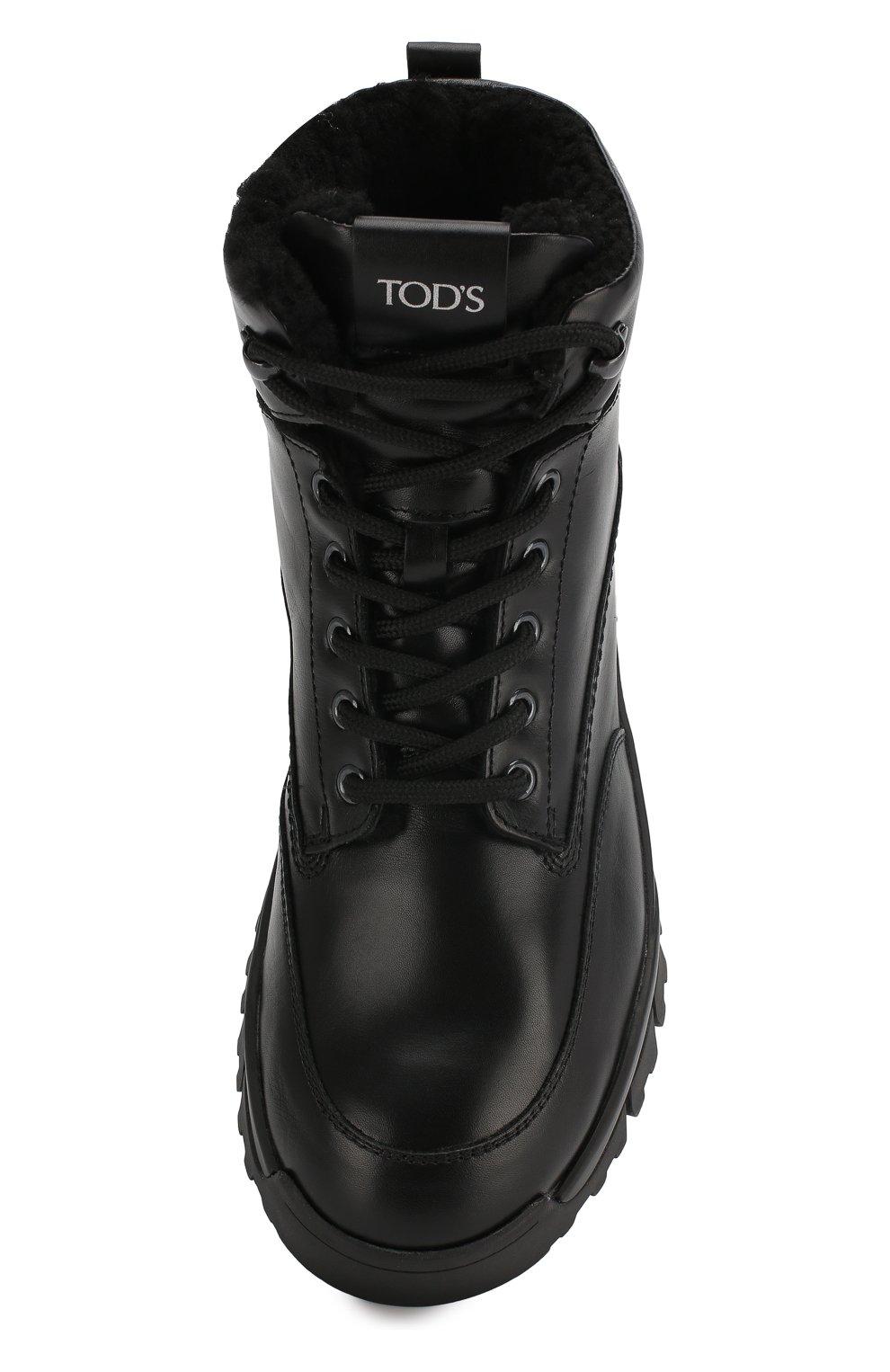 Женские кожаные ботинки sportivo TOD'S черного цвета, арт. XXW81B0CD01G0C   Фото 5