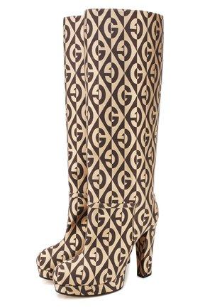 Женские текстильные сапоги britney GUCCI бежевого цвета, арт. 595628/HSV00 | Фото 1