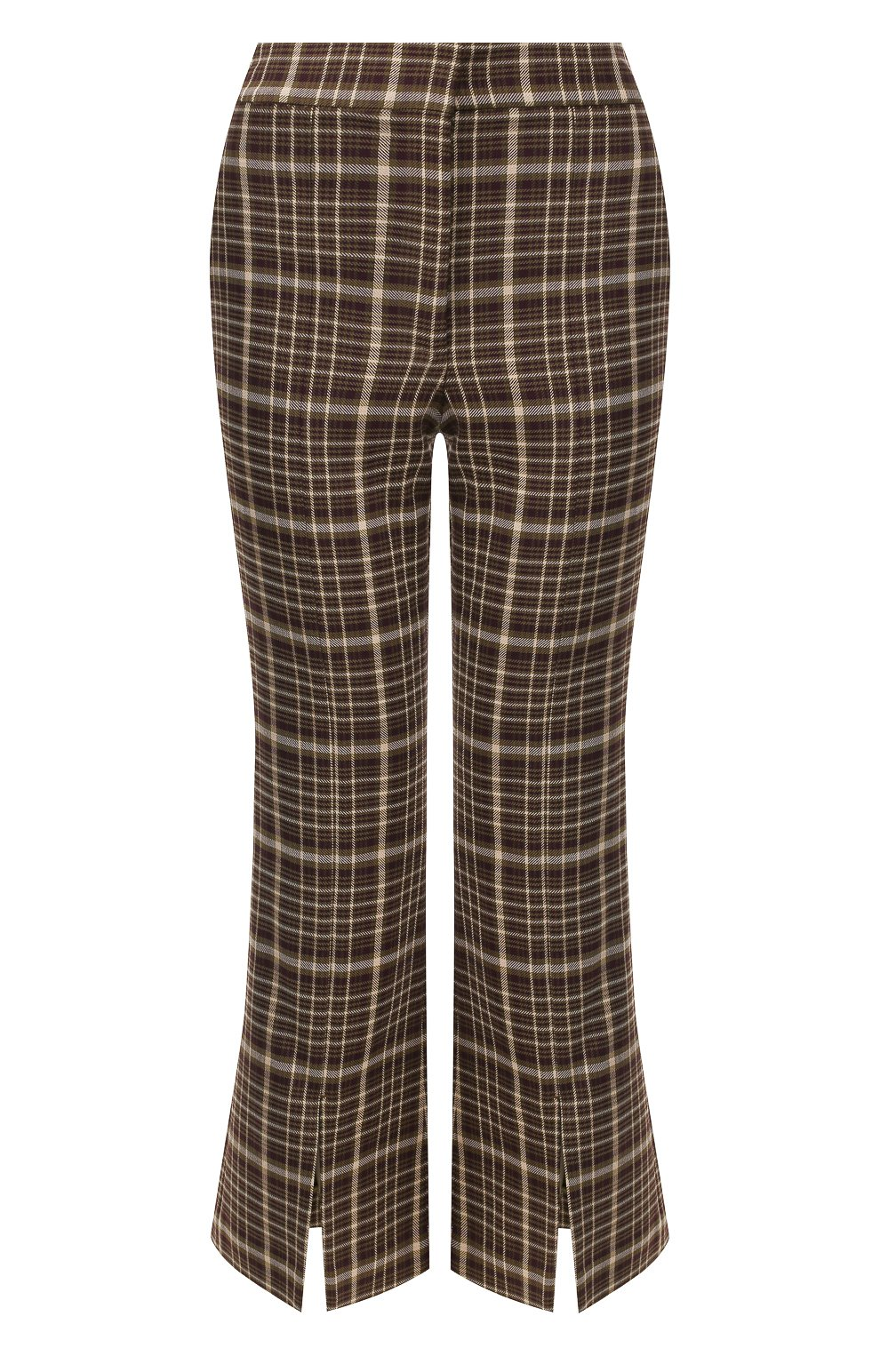 Женские брюки из смеси вискозы и шерсти ADAM LIPPES коричневого цвета, арт. F19506DU   Фото 1 (Материал внешний: Шерсть, Вискоза; Женское Кросс-КТ: Брюки-одежда; Статус проверки: Проверено, Проверена категория; Длина (брюки, джинсы): Укороченные)