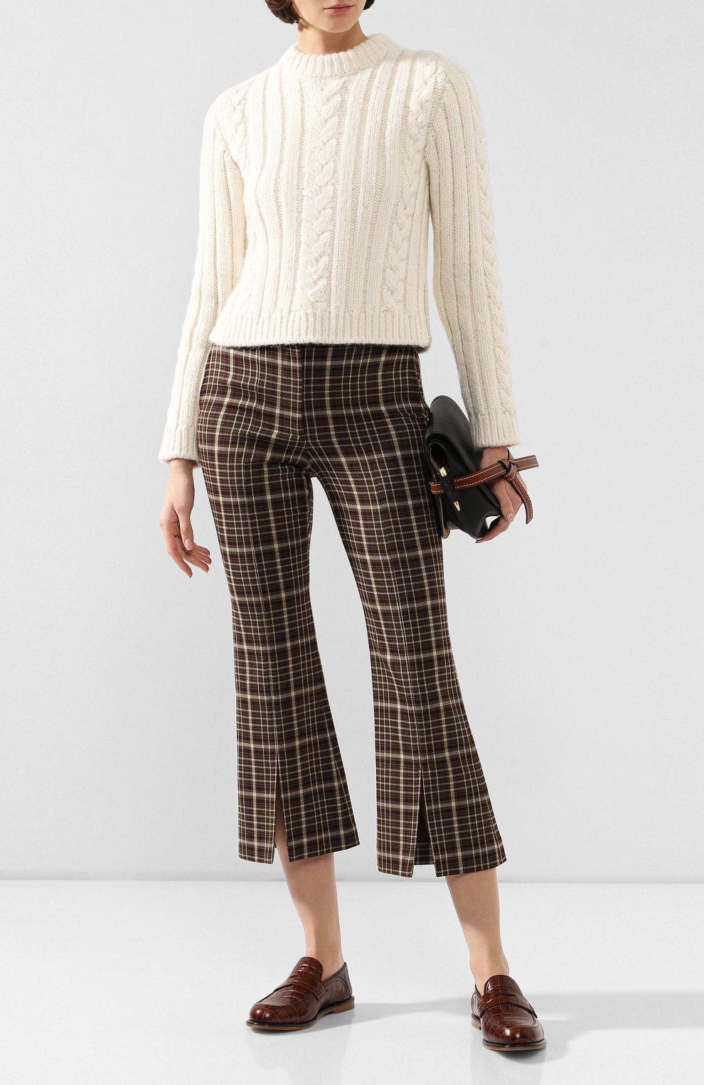 Женские брюки из смеси вискозы и шерсти ADAM LIPPES коричневого цвета, арт. F19506DU   Фото 2 (Материал внешний: Шерсть, Вискоза; Женское Кросс-КТ: Брюки-одежда; Статус проверки: Проверено, Проверена категория; Длина (брюки, джинсы): Укороченные)