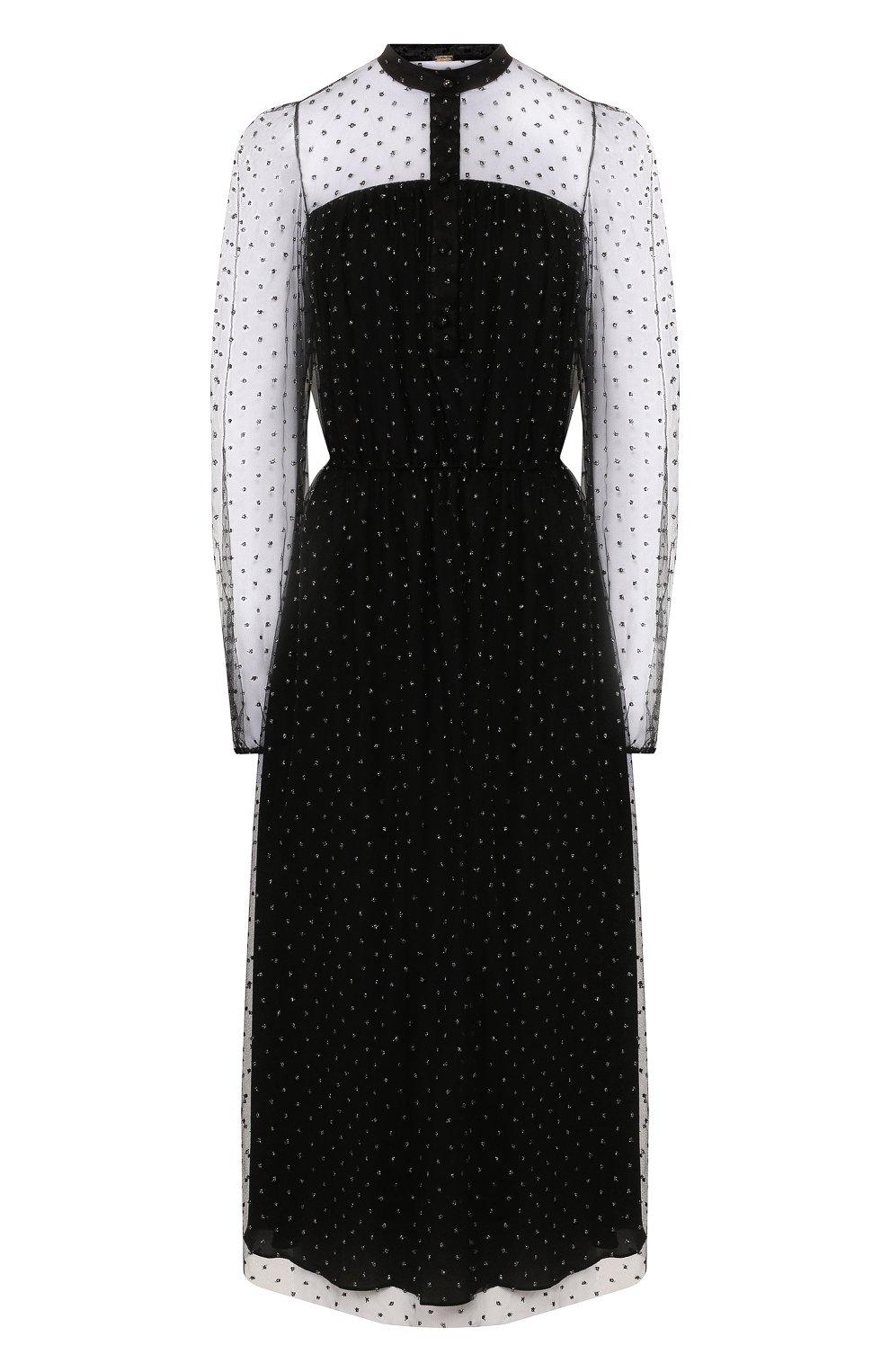 Женское платье ADAM LIPPES черного цвета, арт. F19706P0 | Фото 1 (Рукава: Длинные; Случай: Повседневный; Материал внешний: Синтетический материал, Вискоза; Длина Ж (юбки, платья, шорты): Миди; Статус проверки: Проверено, Проверена категория; Материал подклада: Шелк)