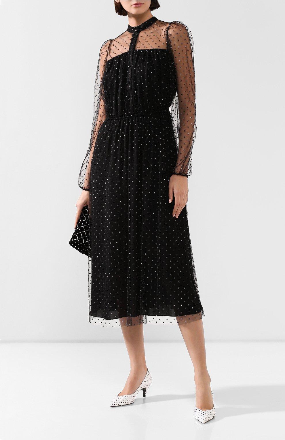 Женское платье ADAM LIPPES черного цвета, арт. F19706P0 | Фото 2 (Рукава: Длинные; Случай: Повседневный; Материал внешний: Синтетический материал, Вискоза; Длина Ж (юбки, платья, шорты): Миди; Статус проверки: Проверено, Проверена категория; Материал подклада: Шелк)
