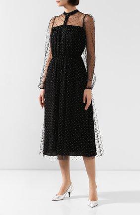 Женское платье ADAM LIPPES черного цвета, арт. F19706P0 | Фото 3 (Рукава: Длинные; Случай: Повседневный; Материал внешний: Синтетический материал, Вискоза; Длина Ж (юбки, платья, шорты): Миди; Статус проверки: Проверено, Проверена категория; Материал подклада: Шелк)