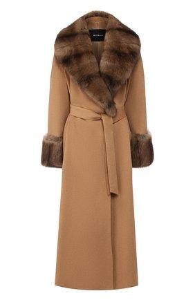Женское пальто с меховой отделкой KITON бежевого цвета, арт. D48613K02403   Фото 1