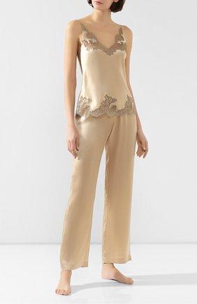 Женские шелковые брюки CARINE GILSON бежевого цвета, арт. SD0518-S W19 | Фото 2