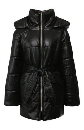 Женская утепленная куртка с поясом NANUSHKA черного цвета, арт. LEN0X_BLACK_VEGAN LEATHER | Фото 1