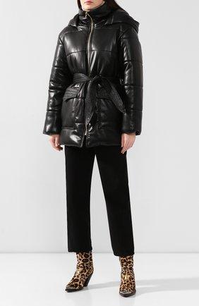 Женская утепленная куртка с поясом NANUSHKA черного цвета, арт. LEN0X_BLACK_VEGAN LEATHER | Фото 2
