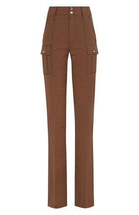Женские брюки из смеси хлопка и шерсти CHLOÉ зеленого цвета, арт. CHC19WPA04068 | Фото 1