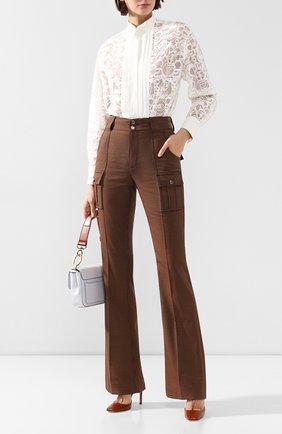 Женские брюки из смеси хлопка и шерсти CHLOÉ зеленого цвета, арт. CHC19WPA04068 | Фото 2