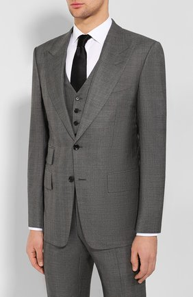 Мужской костюм-тройка из смеси шерсти и шелка TOM FORD серого цвета, арт. 644R19/31AL43 | Фото 2