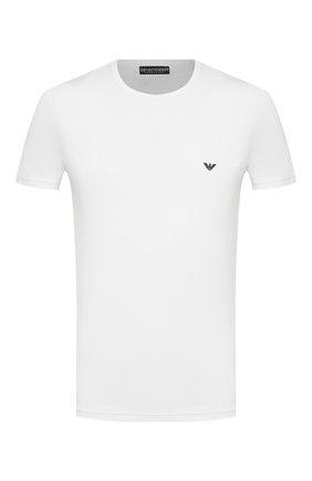 Мужские хлопковая футболка EMPORIO ARMANI белого цвета, арт. 111035/CC729 | Фото 1