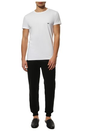 Мужские хлопковая футболка EMPORIO ARMANI белого цвета, арт. 111035/CC729   Фото 2