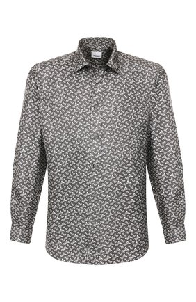 Мужская шелковая рубашка BURBERRY серого цвета, арт. 8014569 | Фото 1