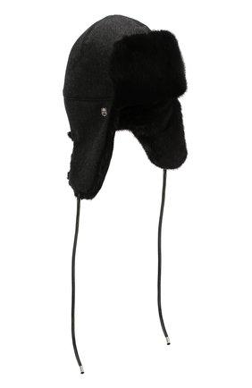 Кашемировая шапка-ушанка с меховой подкладкой | Фото №1
