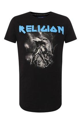 Мужская хлопковая футболка RELIGION черного цвета, арт. 39ELEF30 | Фото 1