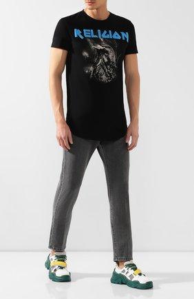 Мужская хлопковая футболка RELIGION черного цвета, арт. 39ELEF30 | Фото 2