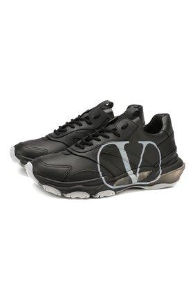 Мужские кожаные кроссовки valentino garavani bounce vlogo VALENTINO черного цвета, арт. SY0S0B05/DDS | Фото 1