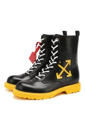 Мужские кожаные ботинки OFF-WHITE черного цвета, арт. 0MIA133F19D680381060 | Фото 1
