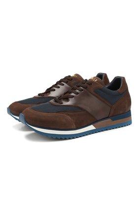 Мужские комбинированные кроссовки ZILLI коричневого цвета, арт. MDS-T071/001 | Фото 1