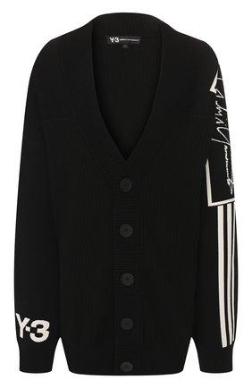 Мужская шерстяной кардиган Y-3 черного цвета, арт. FJ0380/M | Фото 1