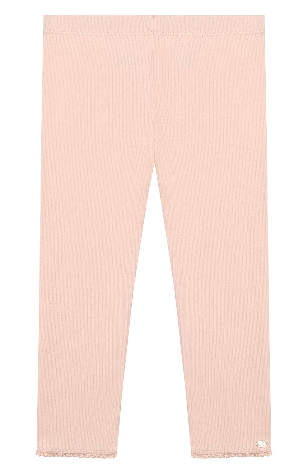 Детские хлопковые брюки TARTINE ET CHOCOLAT розового цвета, арт. TP24001/4A-5A | Фото 1 (Материал внешний: Хлопок; Статус проверки: Проверена категория; Ростовка одежда: 4 года | 104 см)