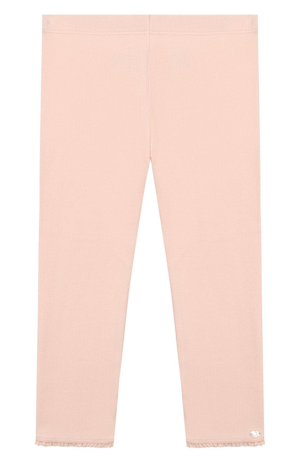 Детские хлопковые брюки TARTINE ET CHOCOLAT розового цвета, арт. TP24001/18M-3A   Фото 1 (Материал внешний: Хлопок; Ростовка одежда: 18 мес   86 см, 24 мес   92 см, 36 мес   98 см)