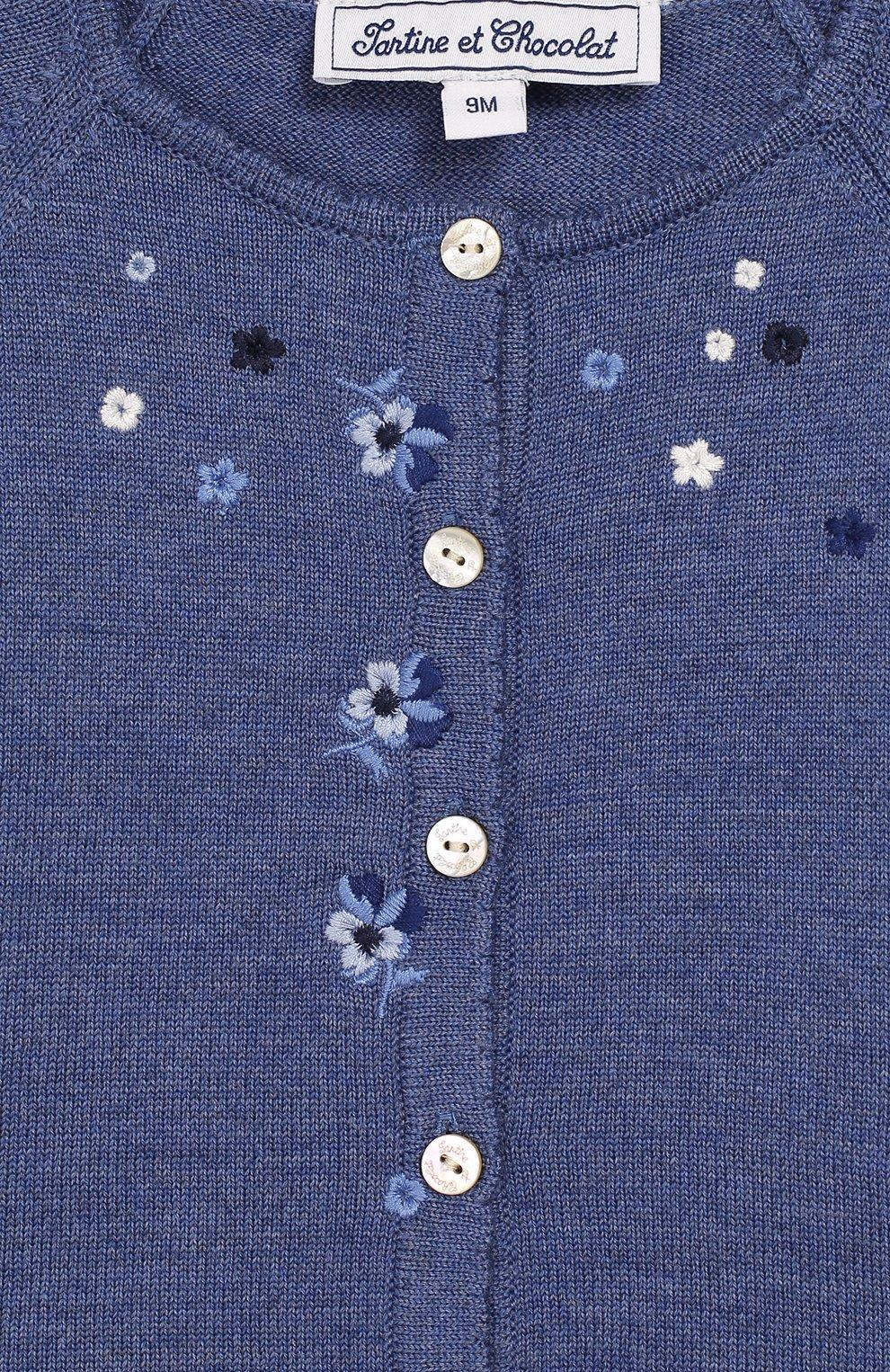 Детский шерстяной кардиган TARTINE ET CHOCOLAT голубого цвета, арт. TP18021/1M-1A | Фото 3