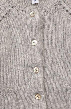 Детский кашемировый кардиган TARTINE ET CHOCOLAT серого цвета, арт. TP18011/1M-1A   Фото 3 (Материал внешний: Шерсть, Кашемир; Рукава: Длинные; Статус проверки: Проверено, Проверена категория)