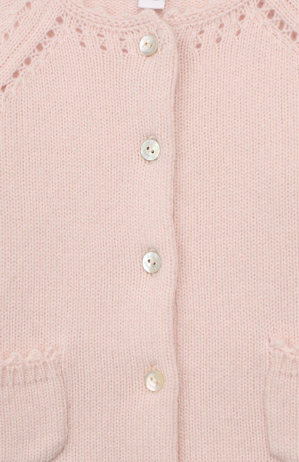 Детский кашемировый кардиган TARTINE ET CHOCOLAT светло-розового цвета, арт. TP18011/18M-3A   Фото 3 (Материал внешний: Шерсть; Рукава: Длинные)