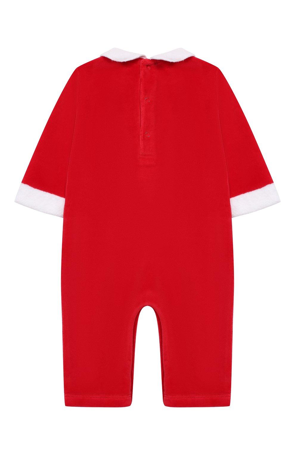Детский хлопковый комбинезон KISSY KISSY красного цвета, арт. KN802435I   Фото 2 (Рукава: Короткие; Материал внешний: Хлопок)