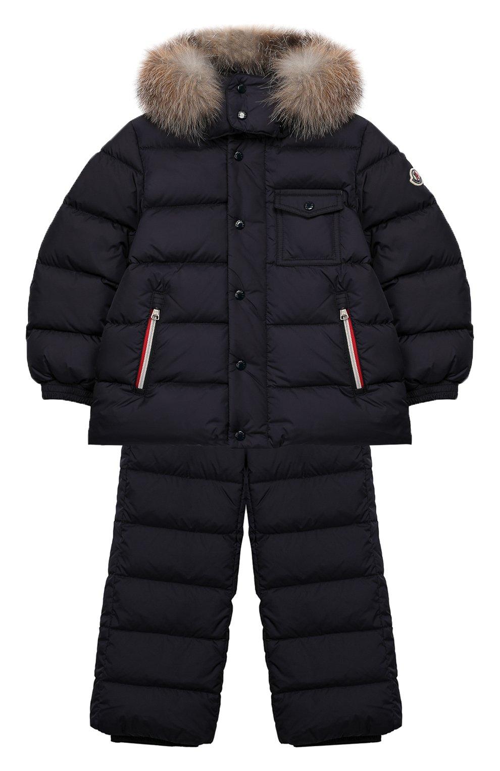 Детский комплект из куртки и комбинезона MONCLER синего цвета, арт. E2-954-70350-25-68352/4-6A | Фото 1