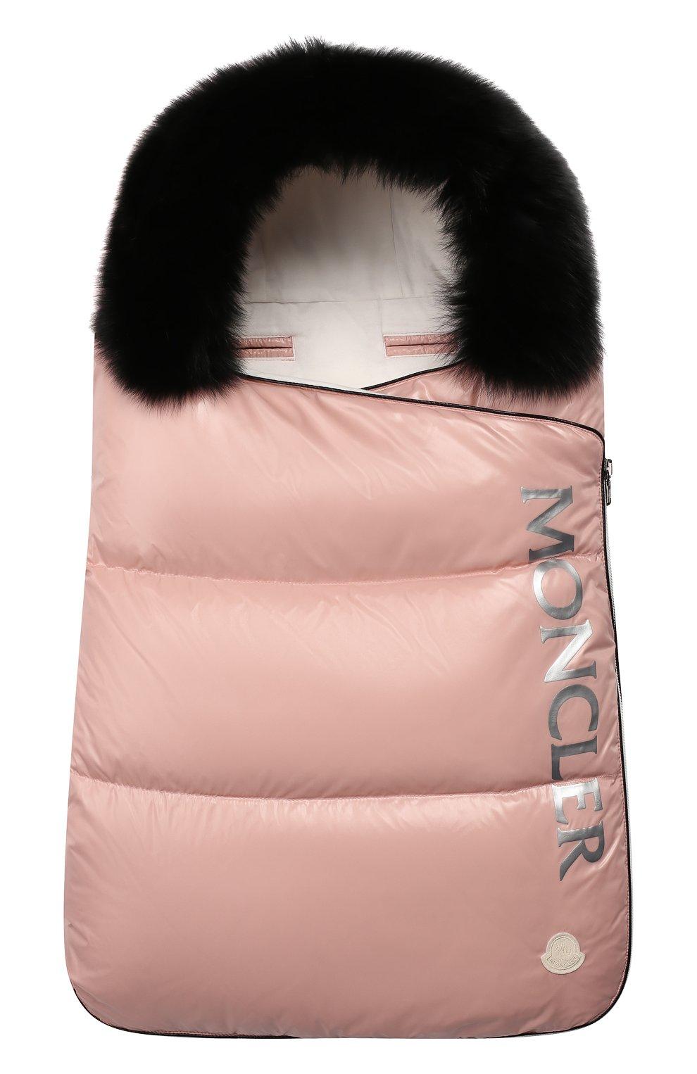 Детский конверт с меховой отделкой MONCLER ENFANT розового цвета, арт. E2-951-00800-25-68950 | Фото 1
