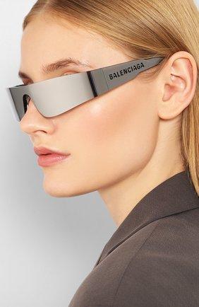 Женские солнцезащитные очки BALENCIAGA серого цвета, арт. BB0041 002   Фото 2