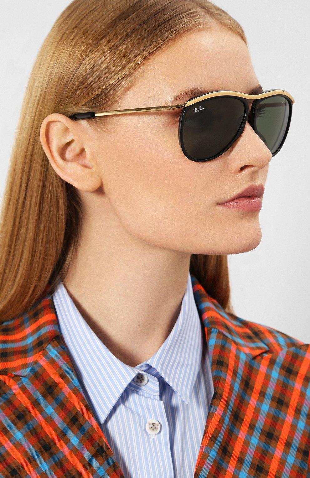 Женские солнцезащитные очки RAY-BAN черного цвета, арт. 2219-901/31 | Фото 2