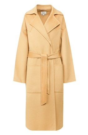 Женское пальто из смеси шерсти и шелка NANUSHKA бежевого цвета, арт. ALAM0_CASHEW_D0UBLE SILK W00L BLEND   Фото 1