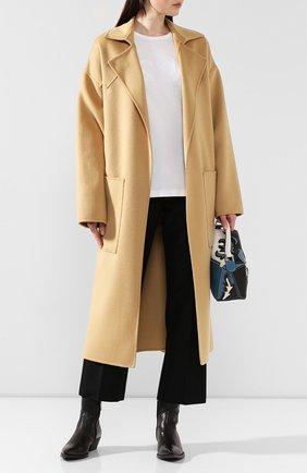 Женское пальто из смеси шерсти и шелка NANUSHKA бежевого цвета, арт. ALAM0_CASHEW_D0UBLE SILK W00L BLEND   Фото 2