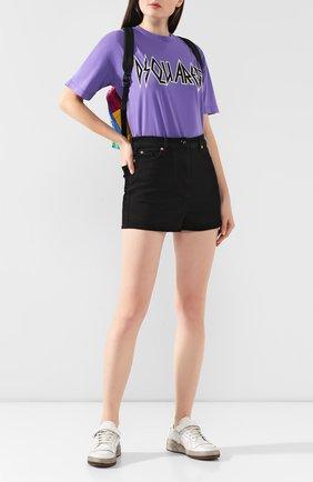 Женская хлопковая футболка DSQUARED2 фиолетового цвета, арт. S72GD0191/S21600 | Фото 2