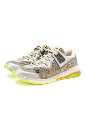 Мужские комбинированные кроссовки ultrapace GUCCI серебряного цвета, арт. 587242/HQK20 | Фото 1