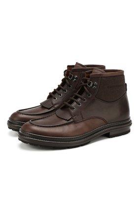 Мужские кожаные ботинки ERMENEGILDO ZEGNA темно-коричневого цвета, арт. A4288X-LHELK | Фото 1