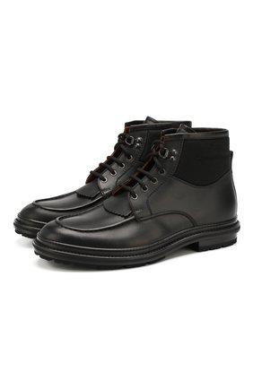 Мужские кожаные ботинки ERMENEGILDO ZEGNA черного цвета, арт. A4288X-LHELK   Фото 1