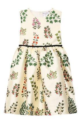 Детское платье из шелка и хлопка OSCAR DE LA RENTA бежевого цвета, арт. 19FGN606BR | Фото 1