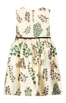 Детское платье из шелка и хлопка OSCAR DE LA RENTA бежевого цвета, арт. 19FGN606BR | Фото 2