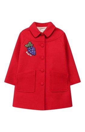 Детского шерстяное пальто GUCCI красного цвета, арт. 577325/XWAF1 | Фото 1
