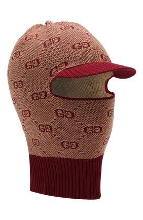 Детского шапка-балаклава из хлопка и шерсти GUCCI бордового цвета, арт. 574721/4K208 | Фото 1