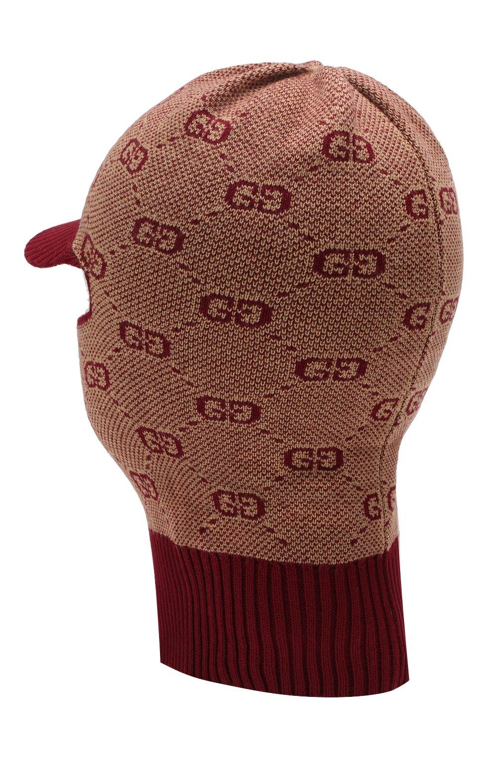 Детского шапка-балаклава из хлопка и шерсти GUCCI бордового цвета, арт. 574721/4K208   Фото 2