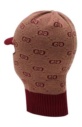 Детского шапка-балаклава из хлопка и шерсти GUCCI бордового цвета, арт. 574721/4K208 | Фото 2