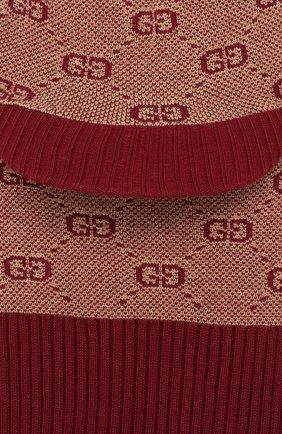 Детского шапка-балаклава из хлопка и шерсти GUCCI бордового цвета, арт. 574721/4K208   Фото 3