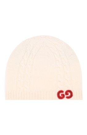 Детского шерстяная шапка GUCCI белого цвета, арт. 574675/3K206 | Фото 1